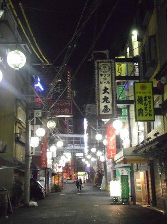 Casa Lapichu: hostel's street at night