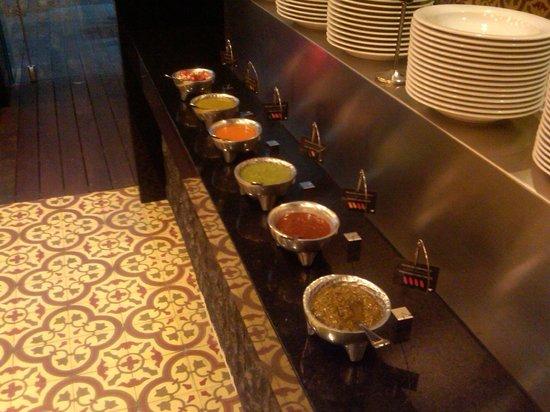 JW Marriott Hotel Mexico City Santa Fe: Hot sauces on buffet.