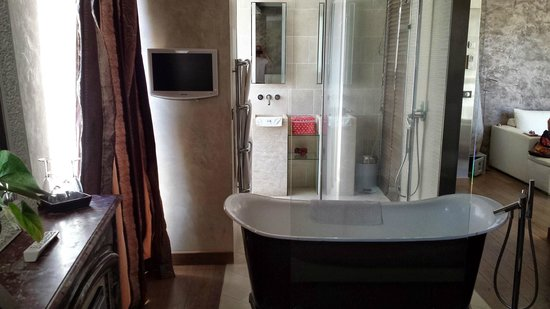 Le Dortoir : Tub, looking into shower/restroom