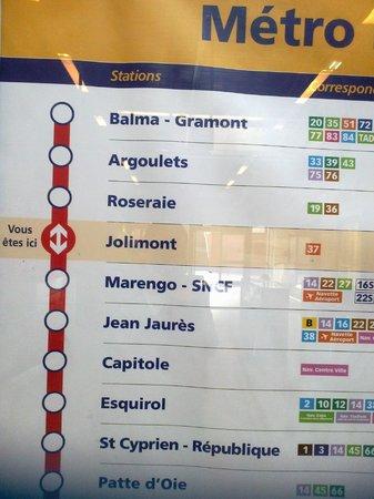Adagio Access Toulouse Jolimont : plan de metro ligne A