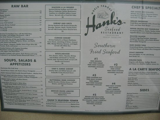 Hank's Seafood Restaurant : Photo of the menu in 2012