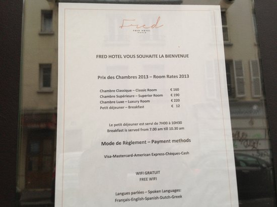 Fred Hotel : Room price list official
