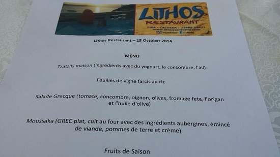 Lithos : un menu concocté personnel c'est possible