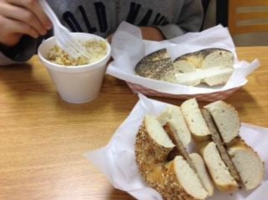 Redhouse Bagels I: poppyseed and everything bagel sandwich