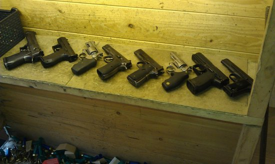 Grotgun Shooting Range: Selection of handguns.