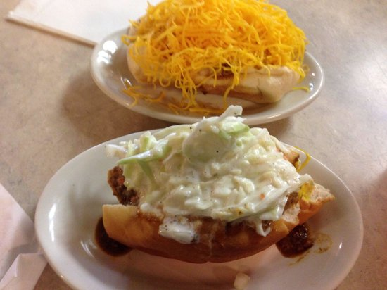 Blue Ash Chili: Cheese and slaw coneys