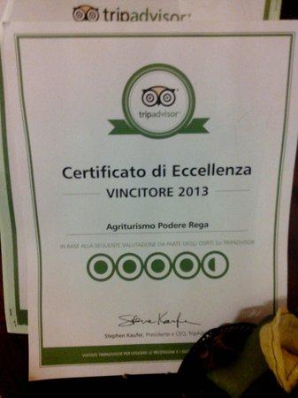 Podere Rega: Certificato di eccellenza Tripadvisor 2013