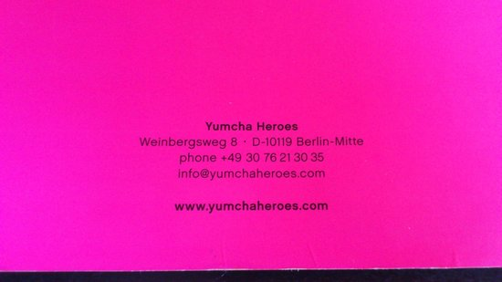 Yumcha Heroes: Back of the menu for reference