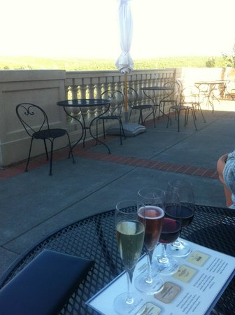 Domaine Carneros: Wine flight on the terrace