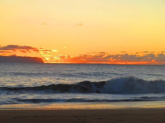 Barking Sands Beach Cottages : Sunset is different everyday from your beach