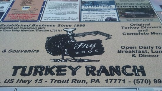 Fry Brothers Turkey Restaurant: Turkey Ranch , place serving paper