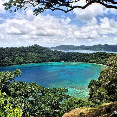 Matangi Private Island Resort: Scene from the hike overlooking Horseshoe Bay.