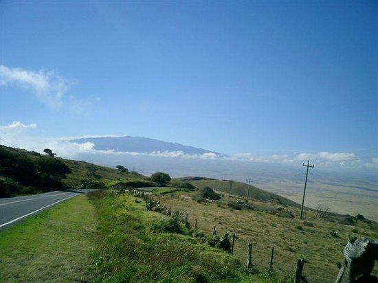 Kohala Mountain Road view of Mauna Kea peak  which can have snow in winter