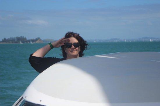 Island Sailing onboard Te Aura - Waiheke Island: Birthday girl at the helm