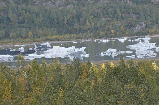 Alaska Railroad: Icebergs from glacier in river - Anchorage-Seward