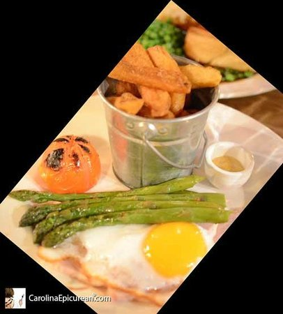 Eight Bells : Home-cooked Honey Glazed Roast Ham with a Fried Ducks Egg, Hand-cut Chips, Local Asparagus, and