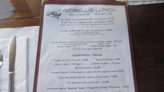 Vorelli's Restaurant: menu