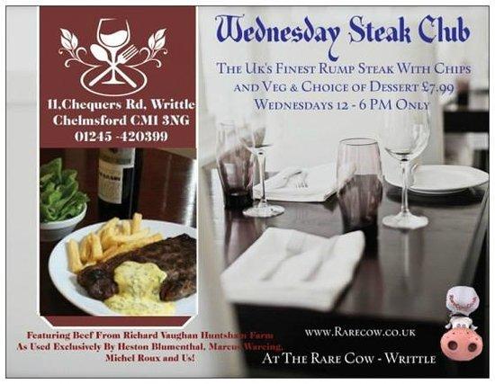 The Rare Cow: Steak Club Wednesdays Finest Steak, Chips, Veg and desert  from Huntsham Farm just £7.99 12-6pm