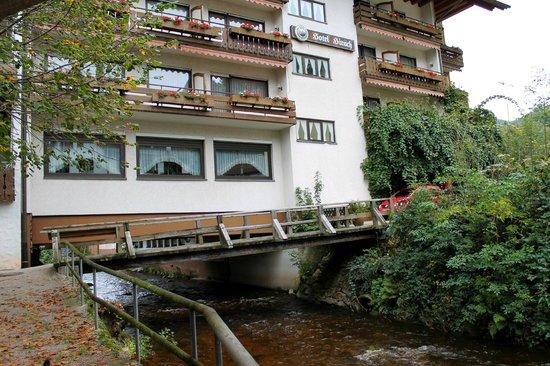 Hotel Hirsch : Seitenansicht des Hotels, unten fliesst die Rentsch.
