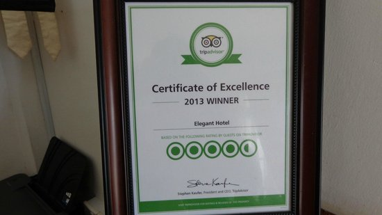 Elegant Hotel : Well Deserved Excellence Certificate