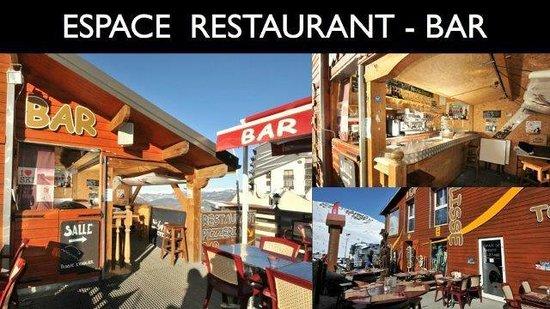 TopSkiBar : Deux terrasses chauffées, une salle de restaurant chaleureuse, A table les amis!