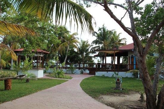 Hatchet Caye Resort: Restaurant and pool