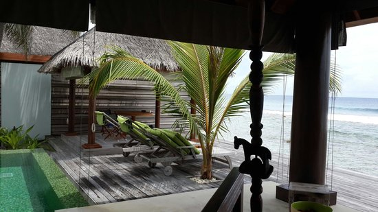 Naladhu Private Island Maldives : Partial view of sea, and terrace