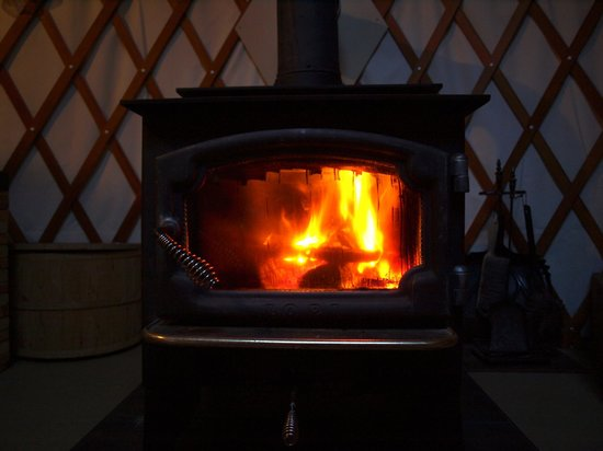 Frost Mountain Yurts: Inside fire place