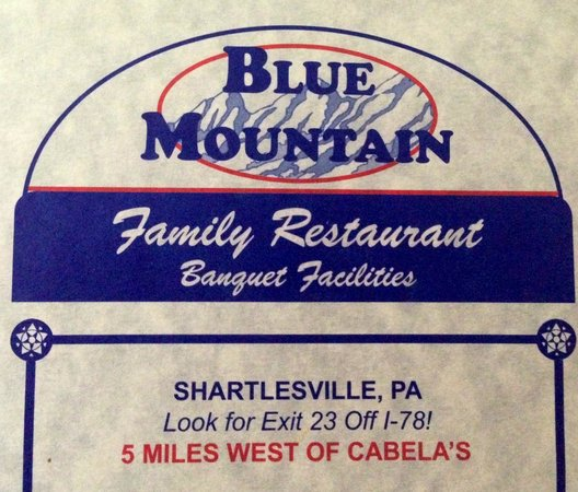 Blue Mountain Family Restaurant: Info from their brochure.
