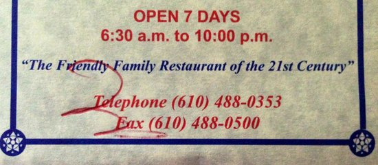 Blue Mountain Family Restaurant: Info from their brochure. Didn't mean to scribble on it!