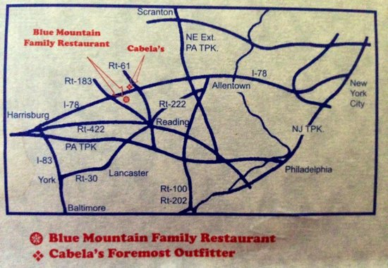 Blue Mountain Family Restaurant: Map from their brochure. It is very conveniently located.