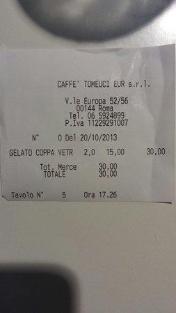 Caffe Tomeucci: Una coppa di gelato... 15€????