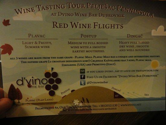 D'vino Wine Bar: The explanatory card to accompany your wine flight