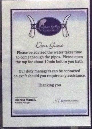 Elephant Springs Hotel & Cabanas : Water wastage