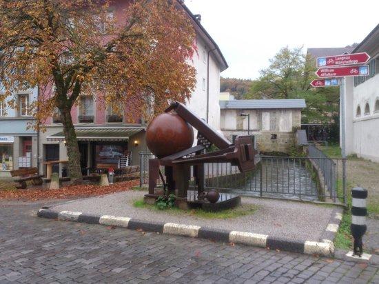 Burgdorf - old town - sculpture of Bernhard Luginbühl