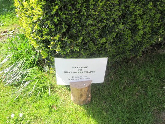 Greyfriars Chapel and Franciscan Gardens: Greyfriar's Priory Sign April 2012