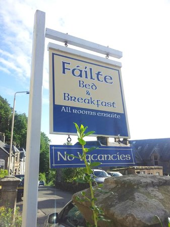 Failte Bed & Breakfast : Cartel de la entrada