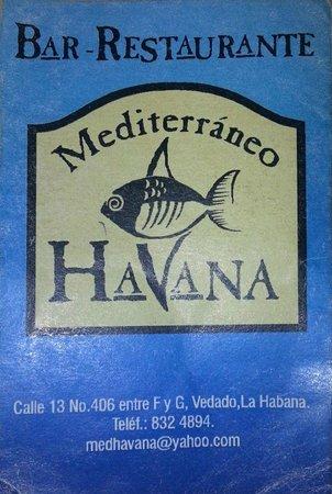 Mediterraneo Havana: Tarjeta del restaurante