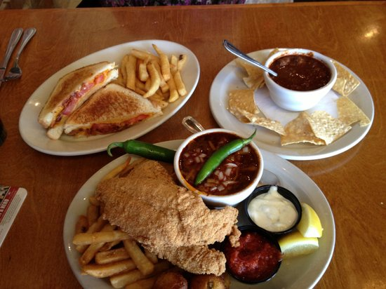 Tolbert's: Arturo's grilled cheese with bacon and tomato and fried catfish accompanied by world famous Texa