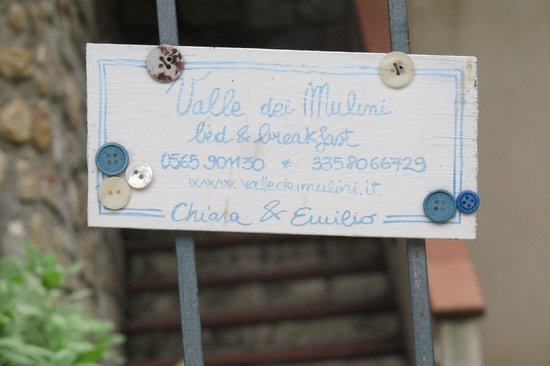 Valle dei Mulini : Cartel en la reja de entrada