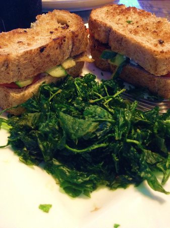 Mile High Grill & Inn: Grilled Veggie Sandwich with a side of Flash Fried Spinach