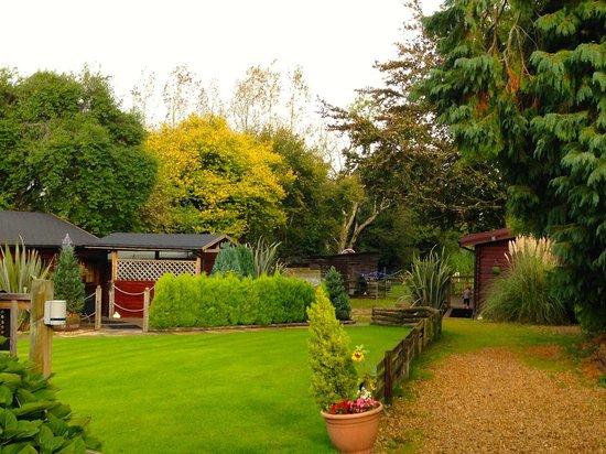 Cypress Log Cabins: Gardens leading to Beech log cabin