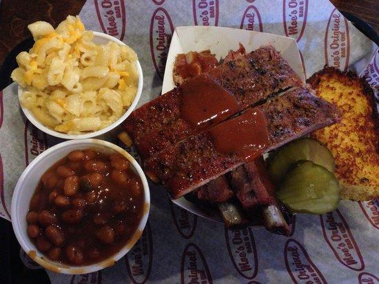 Moe's Original BBQ: St. Louis style BBQ ribs, corn bread, BBQ beans and mac n cheese.