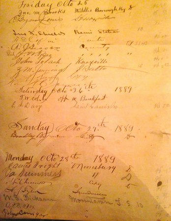 Hale Springs Inn : Guest register c. 1889