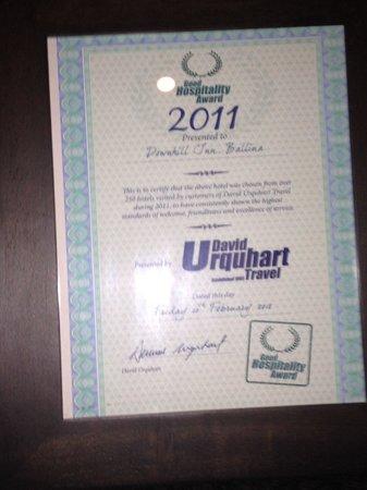 The Downhill Inn: David Urqhart Certificates on display