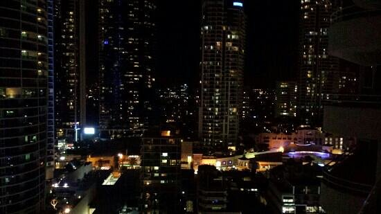 Zenith Apartments: View from 1 of 3 balconies at night