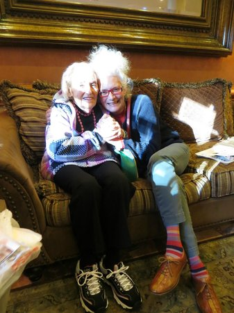 The Lucerne Hotel: visiting my Aunt Mimi in the Lobby (pillows provided for her)