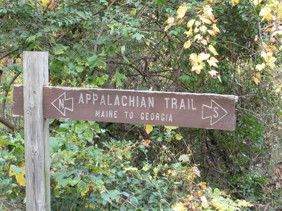 Hawk Mountain Sanctuary: Sign for Appalachian Trail. How cool is that! About a mile before Main Entrance near Eckville