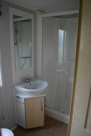 Twitchen House Holiday Village Bathroom Shower Toilet Gold Caravan