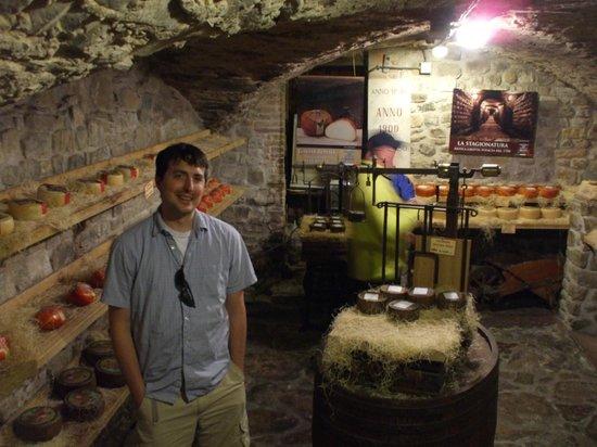 Tuscany Car Tours: Cheese heaven in the basement of Antica Macelleria Falorni.